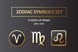 Golden Zodiak Symbols vector set