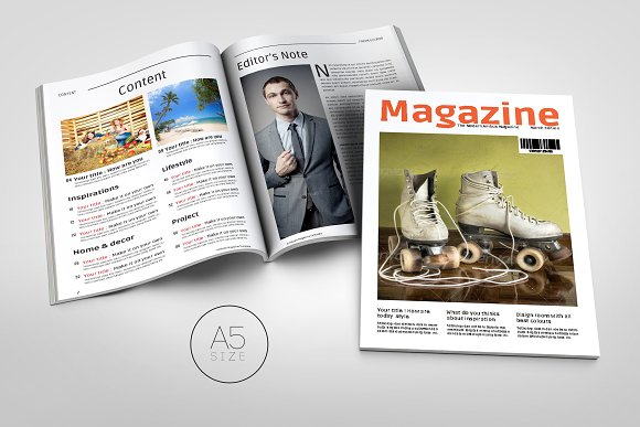 A5 Magazine Template Magazine Templates Creative Market
