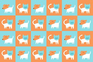 Cats and dogs pattern