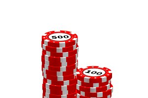 Stack of red gambling chips