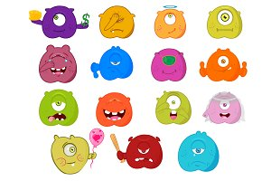 Set 15 of smileys, Emoji, Vector