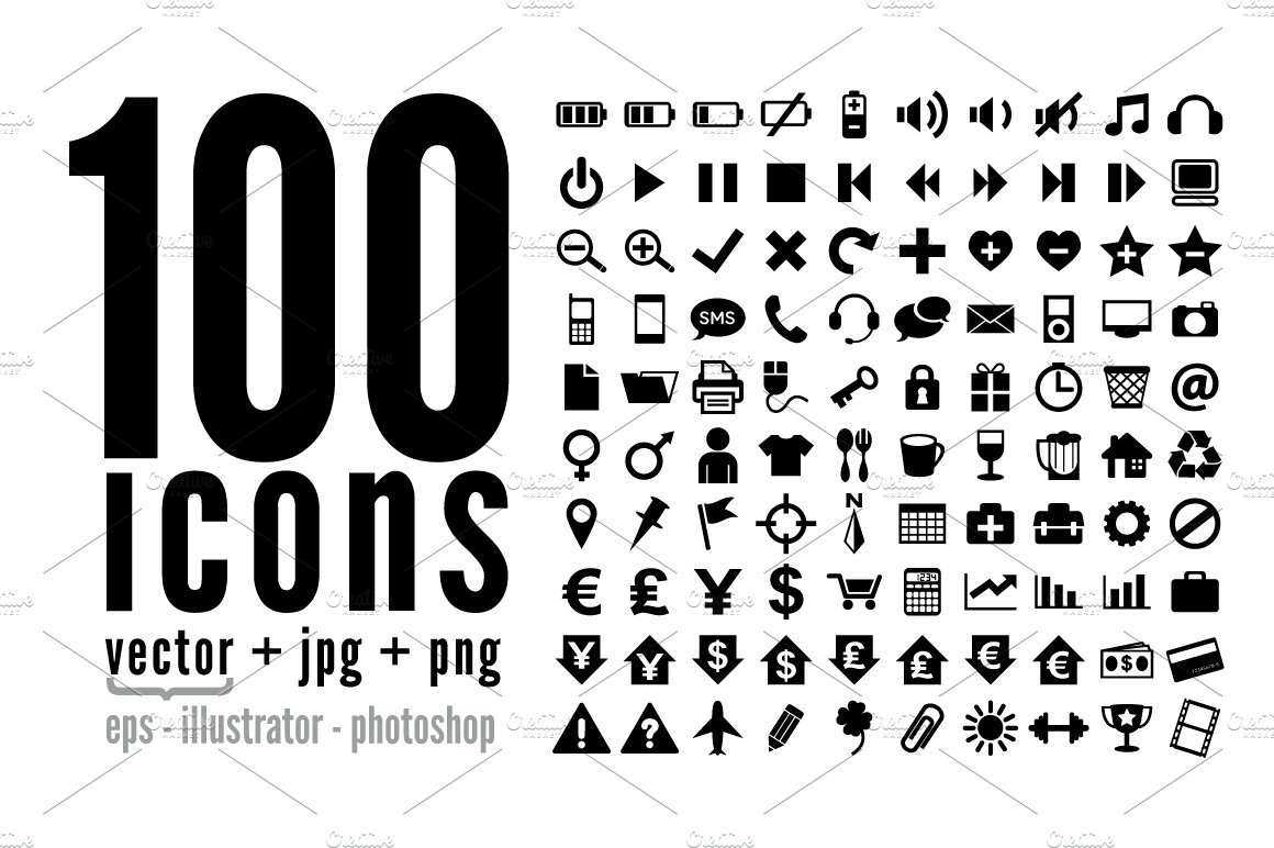 100 icons pack graphics creative market reheart Choice Image