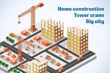 Isometric construction building