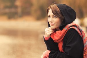 beautiful woman with a scarf