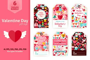 Valentine Day Gift Tag Vector Set