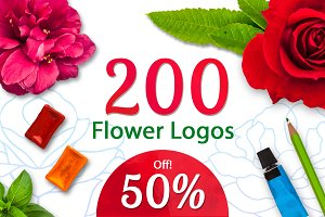50% Off! 200+ Flower Logos Bundle