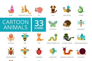 Cartoon animals icons set