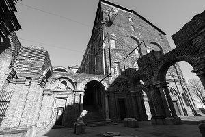 Rivoli Castle in Rivoli in black_and_white