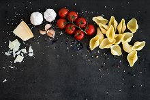 Food frame. Pasta ingredients