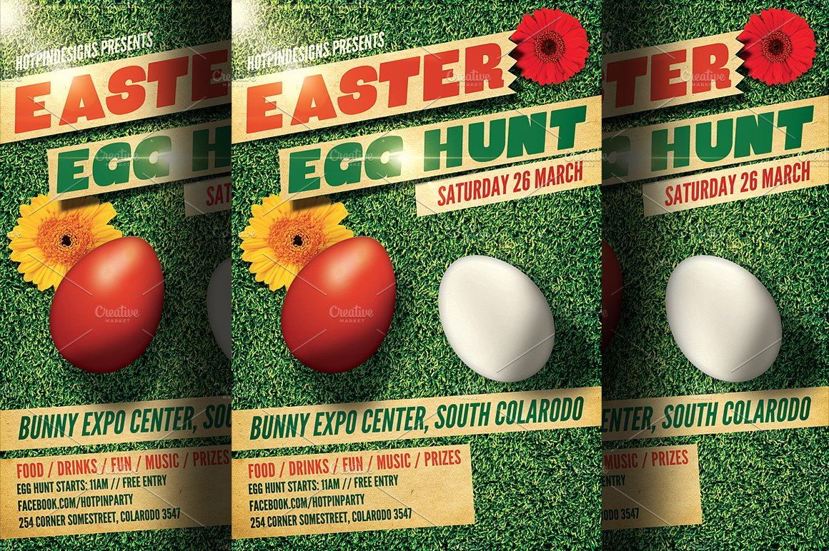 easter egg hunt flyer template 2 flyer templates creative market