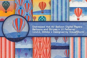 Hot Air Balloon Digital Paper