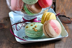 Macarons, French dessert, copy space