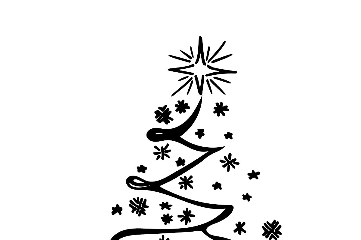 Christmas tree, sketch, vector | Custom-Designed ...