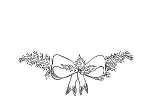 Christmas decoration, sketch, pine