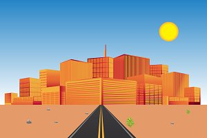 road in the desert, city, vector