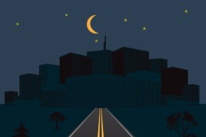 road, night, city, vector