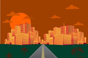 city, sunrise, vector