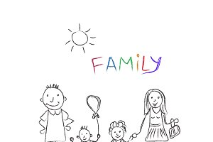 family, sketch, vector illustration