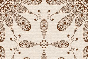 Vector Seamless Abstract Ethnic  Flo