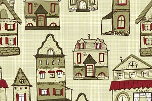 vector seamless pattern with houses