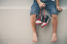 Little boy with sneakers