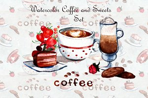 Watercolor coffee and sweets set