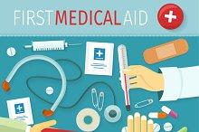 First Medical Aid Kit Design Flat