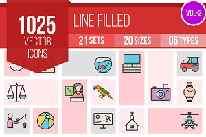 1025 Line Filled Icons (V2)