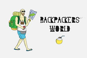 Backpackers world. Travel doodles.