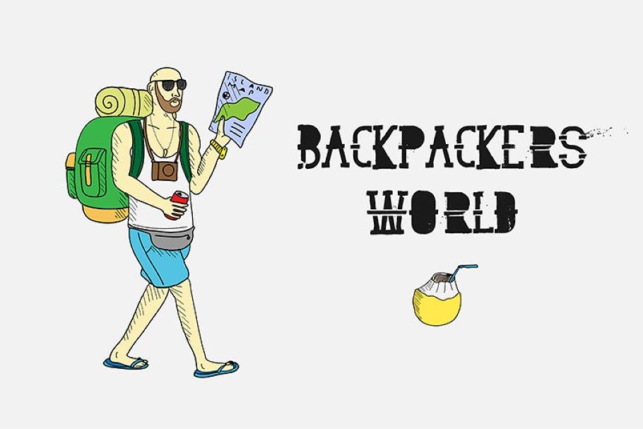 42940e6f4385 Backpackers world. Travel doodles. ~ Illustrations ~ Creative Market