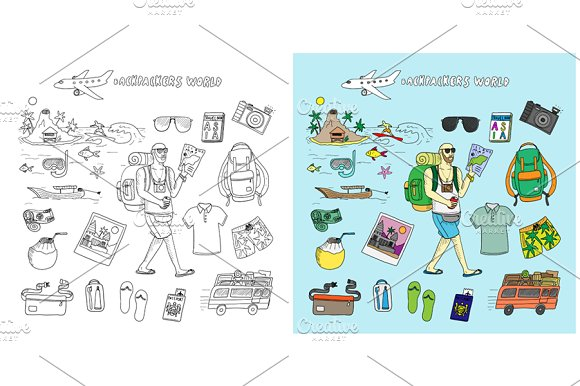 42940e6f4385 Backpackers world. Travel doodles. ~ Illustrations ~ Creative Market