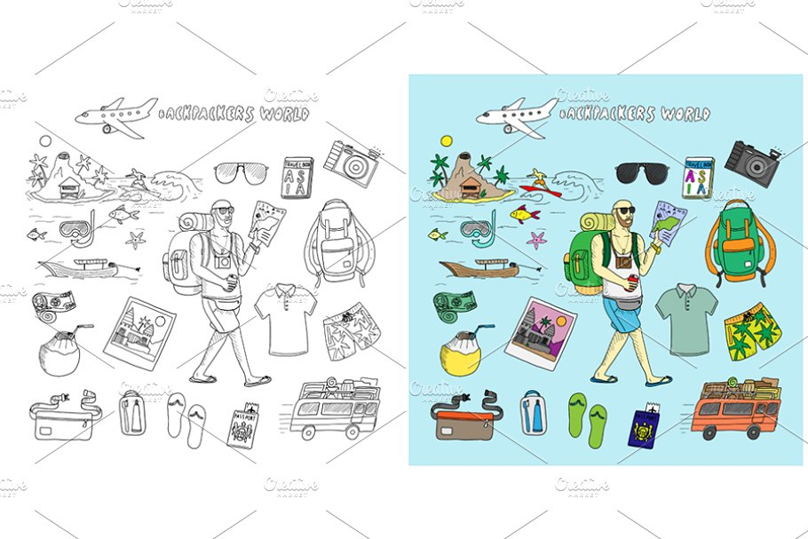 9292d8e1b4 Backpackers world. Travel doodles. ~ Illustrations ~ Creative Market