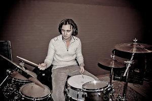 The drummer in studio
