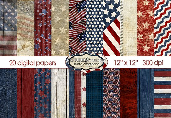 Rustic Americana Scrapbook Paper Graphic Objects Creative Market