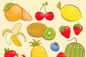 Cute Fruits with outline