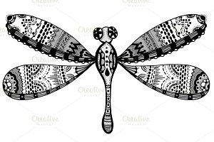 Vector stylized dragonfly