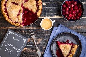 Cherry pie. Dark baking background