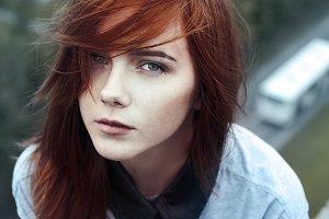 Portrait redhead girl