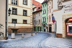 Narrow medieval streets in Prague