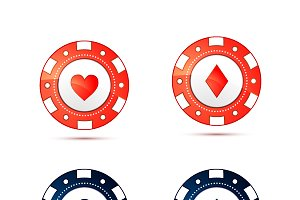 Casino chips with card suits symbols