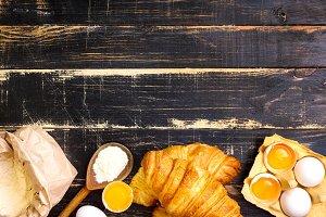 Freshly baked croissants, flour, egg