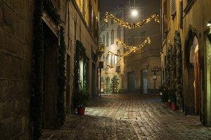 Old European narrow empty street