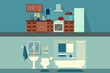 Home interior kitchen and bathroom