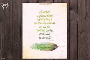 Feather love quote Oscar Wilde print