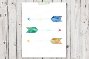 Arrows watercolor print art