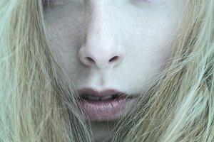 close portrait of blonde