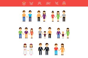 Flat vector of same-sex couples