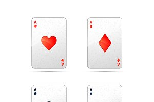 Four aces playing cards on white