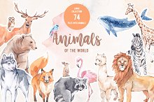 Animals of the world. Watercolor set
