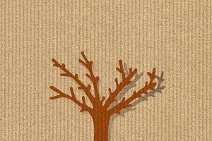 Dry tree silhouette on a kraft paper
